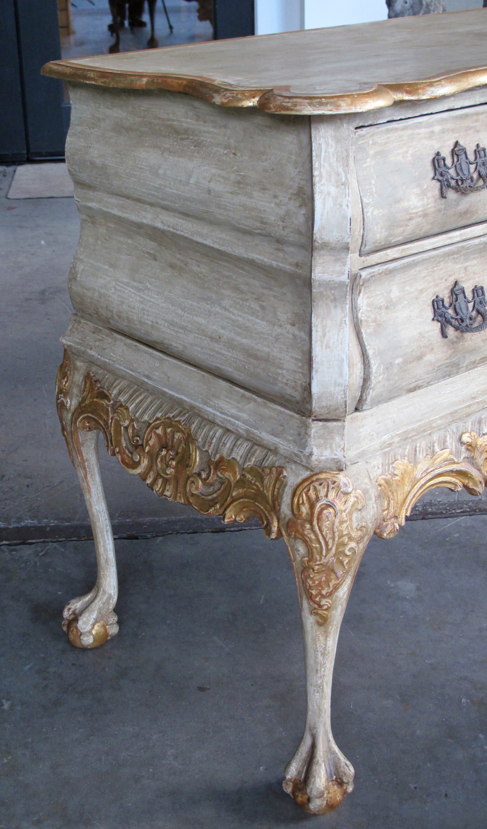 A Shapely Dutch Rococo Style Grey Green Painted And Parcel