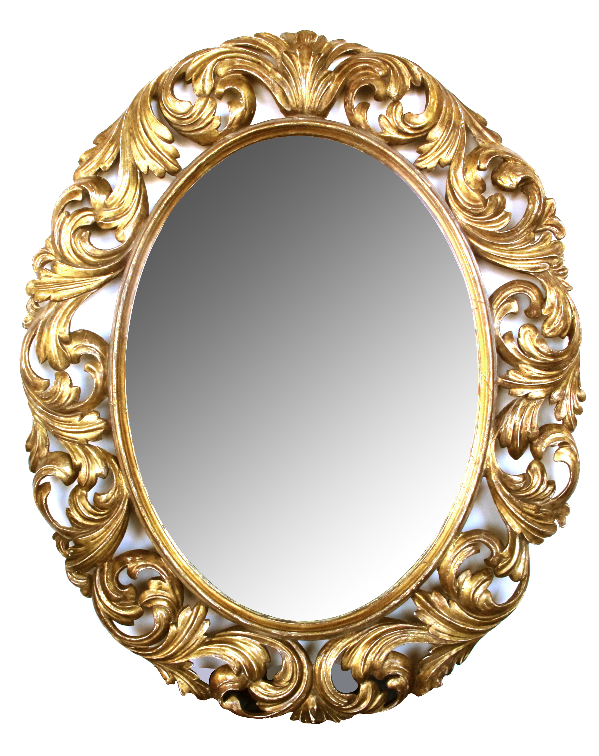 This italian circular wooden wall mirror is no longer available - A Well Carved Italian Baroque Style Oval Gilt Wood Mirror Epoca Antiques 20th Century Furnishings San Francisco