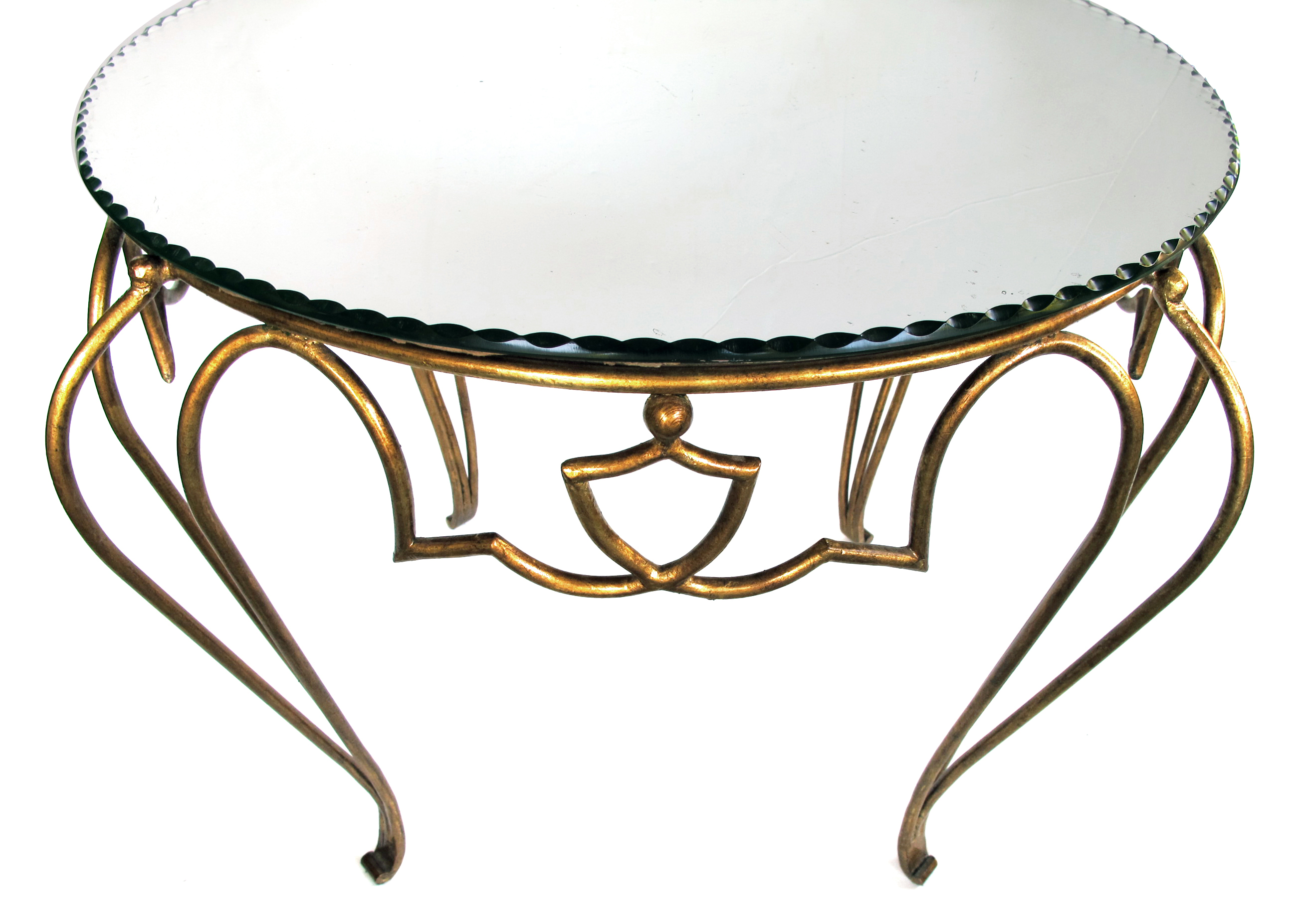 A Chic French Art Deco Gilt Iron Circular Table With