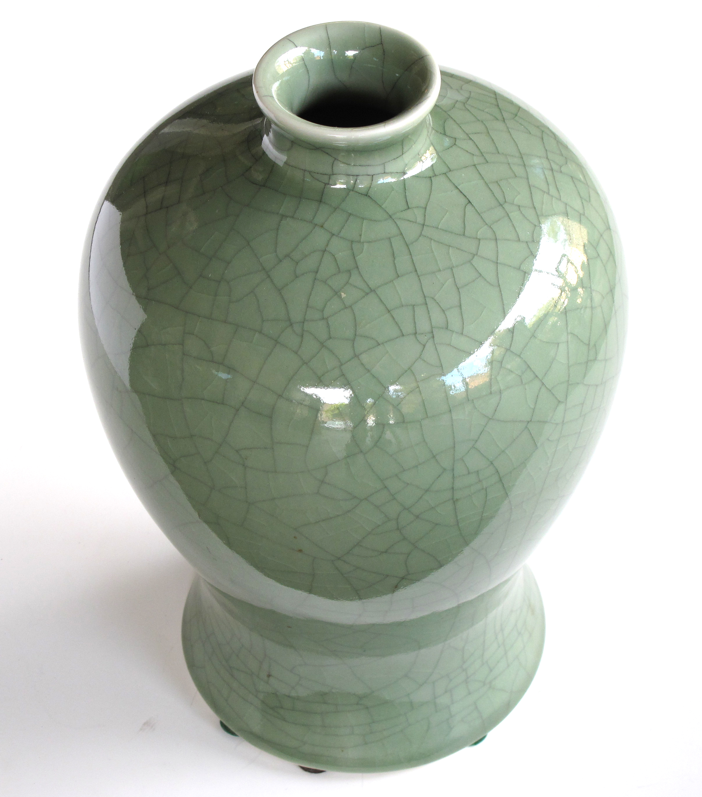 An Elegantly Shaped Chinese Celadon Crackle Glazed Mei