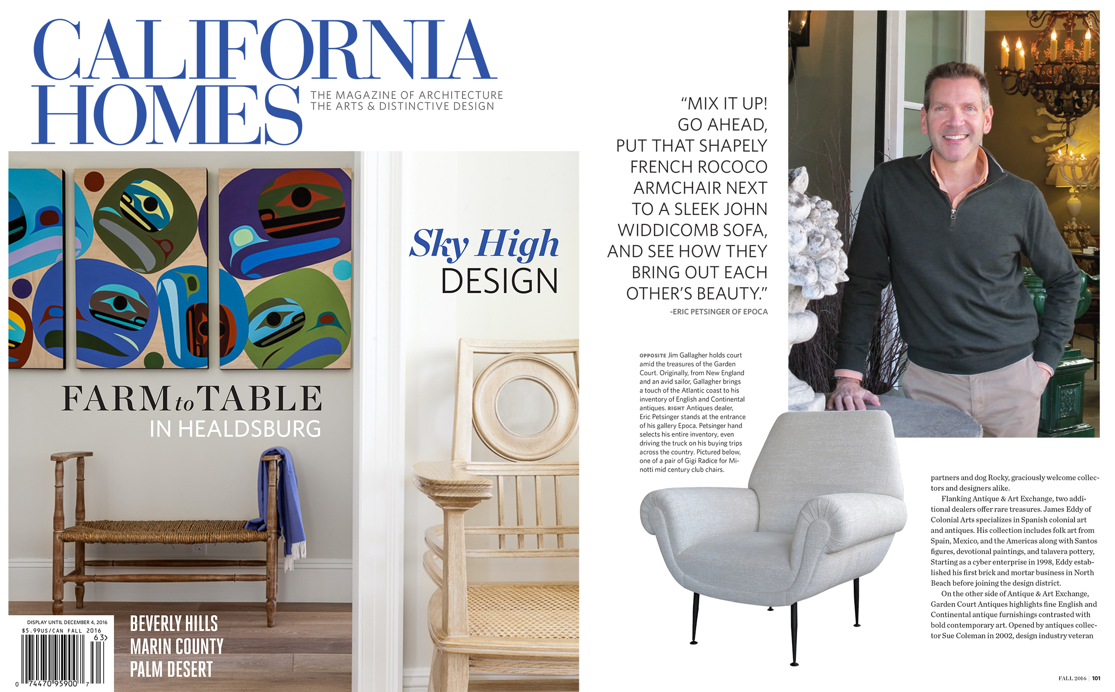 California Homes Magazine Fall 2016 Shopping SOMA\'s Antiques Galleries