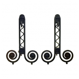 a dramatic and large-scaled pair of french art deco hand-wrought iron andirons