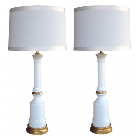 a tailored pair of american 1950's white milk glass columnar lamps