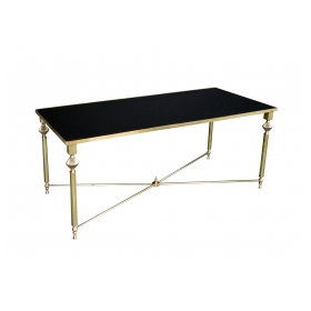 chic french 1940's brass rectangular coffee table with black glass top