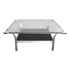 large-scaled and shapely french 1970's steel square-form coffee table with glass top and black glass lower shelf
