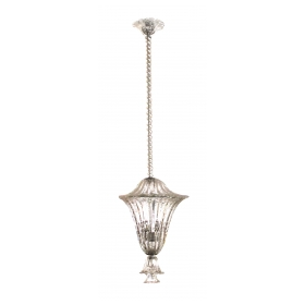 large and superb quality murano mid-century clear glass bullicante lantern/pendant light by seguso