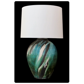 a good american 1970's raku glazed ovoid-form lamp