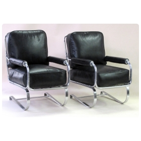 stylish and rare pair of american 1930's machine-age tubular chrome springer arm chairs by KEM Weber for Lloyd manufacturing