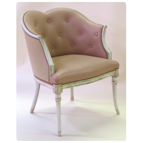 gracefully-proportioned grosfeld house 1940's ivory painted and silver-leafed chair/bergere with heart-shaped back
