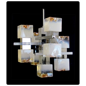 stylish italian 1970's cantilever 9-light chrome chandelier by Gaetano Sciolari with Mazzega white and amber tinted glass cubes