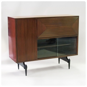 epoca san francisco & New York, A Mid Century Dry Bar 1950's a sleek & mod  mahogany drop-front bar