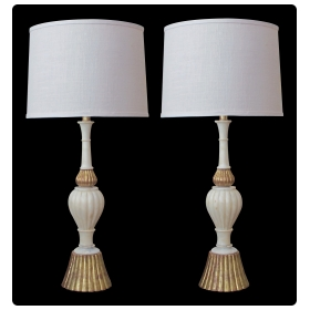 a shapely pair of italian 1950's baluster-form carrara marble lamps with giltwood mounts