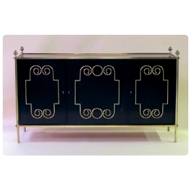 exquisite american mid-century custom-made black lacquer 3-door sideboard/buffet with applied brass scrollwork and bronze mounts; by Daniel Jones, Inc., New York