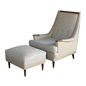 stylish american 1960's leather and tweed lounge chair and matching ottoman
