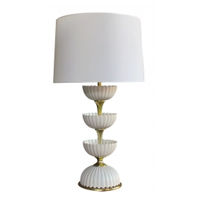 chic american mid-century ceramic 'Lotus' lamp by Gerald Thurston for Lightolier