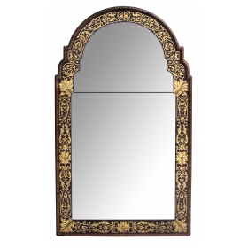 stylish italian queen anne style eglomise mirror with neoclassical decoration