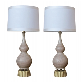 chic and stylish pair of american mid-century double-gourd form taupe-glazed lamps