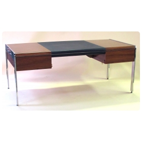sleek and sophisticated vintage zebrawood 3-drawer desk with black leather inset panel and steel supports by Leon Rosen for Pace