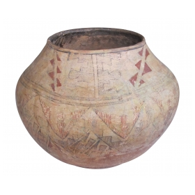 large and rare american indian zuni pueblo polychromed earthenware pot