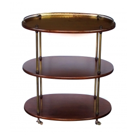 a handsome english 3-tier solid mahogany oval etagere with brass mounts