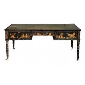 rare english regency style japanned map table now adapted to a reverse partners desk