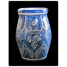 large mexican handthrown blue and white glazed barrel-form pot from Talavera Vazquez
