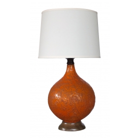 a large and iconic american 1960's burnt-orange crater-glazed lamp