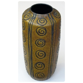 tall and striking West German 1960's ochre glazed vase with dark brown drip-glaze decoration