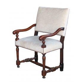 a handsome italian baroque walnut arm chair with os du mouton arms