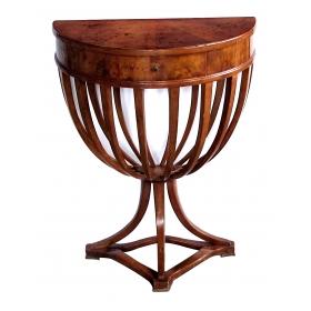 shapely italian biedermeier style walnut single-drawer demilune console table