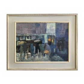"""oil on board: Abstract Painting """"London Bus Stop"""" by Pearl Cohen (British 1908-1976)"""