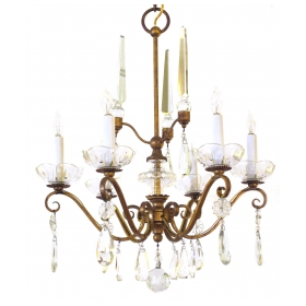 an elegant french 1940's gilt metal 6-light chandelier with crystal pendants