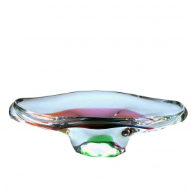 epoca seguso murano mid-century elliptical-form clear glass bowl