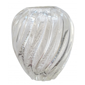 a shimmering italian mid-century ribbed clear art glass pillow vase with silver inclusions; by archimede seguso