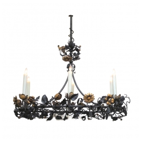 epoca, San Francisco midcentury: a fanciful belgian 6-light iron chandelier with scrolling floral and foliate vine