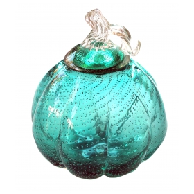 a whimsical murano 1950's teal art glass gourd with lid