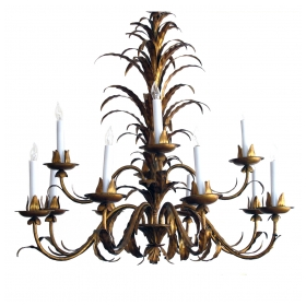epoca, San Francisco, 20th century: a fanciful belgian 6-light iron chandelier with scrolling floral and foliate vine