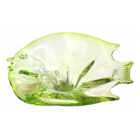 a playful murano mid-century acid-green art glass bowl of a fish: epoca in San Francisco