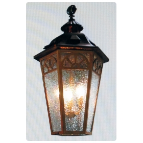 A Handsome American Arts and Crafts Bronze and Copper Hexagonal Lantern with Original Bronze Canopy,