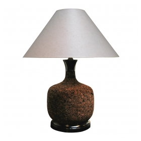 a robust american 1960's baluster-form cork lamp with ebonized base and cap; rewired; shade as is
