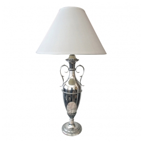a sleek american art deco nickel-plated double-handled urn-form lamp