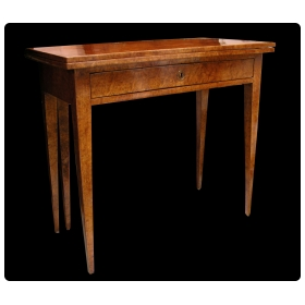 a tailored and well-figured swedish Gustavian burl-birch single drawer game table circa 1800