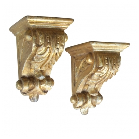 a well-carved pair american classical revival giltwood corbels/brackets (3 available)