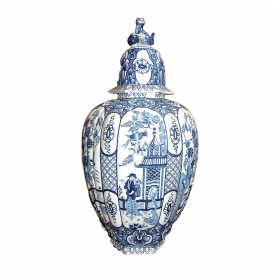 a boldly-scaled dutch blue and white delftware ovoid and ribbed vase surmounted by a hexagonal lid w