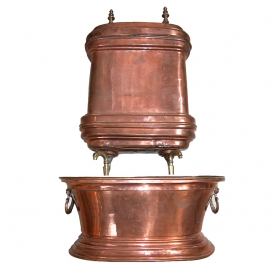 a charming french provincial copper 2-piece lavabo with brass spigots; indentation and wear to patin