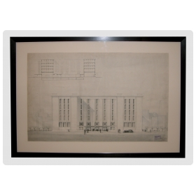 a fine and grandly-scaled french architectural drawing of the 'credit municipal' building