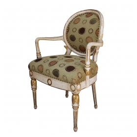a handsome swedish neo-classical ivory painted and parcel-gilt oval back armChairs