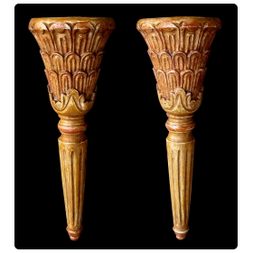 pair of italian neoclassical style carved giltwood wall sconces