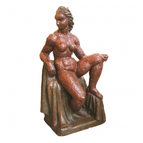 a boldly-rendered french brutalist terra cotta sculpture of a seated nude woman; signed 'Rene Romage, 1942'