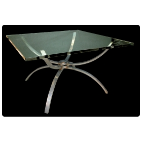 a chic italian 1960's nickel-plated cocktail Tables with square clear glass top